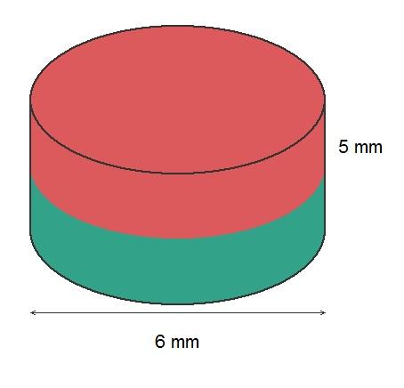 Imã de Neodímio Disco N35 6x5 mm  - Polo Magnético