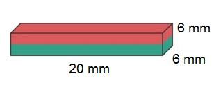 Imã de Neodímio Bloco N35 20x6x6 mm  - Polo Magnético