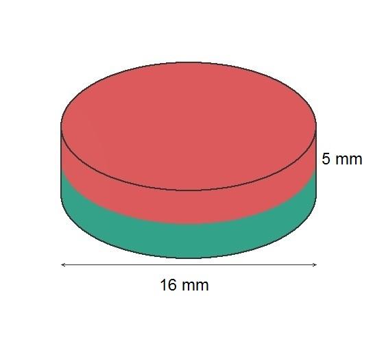 Imã de Ferrite Disco (cerâmica) Y30 16x5 mm  - Polo Magnético