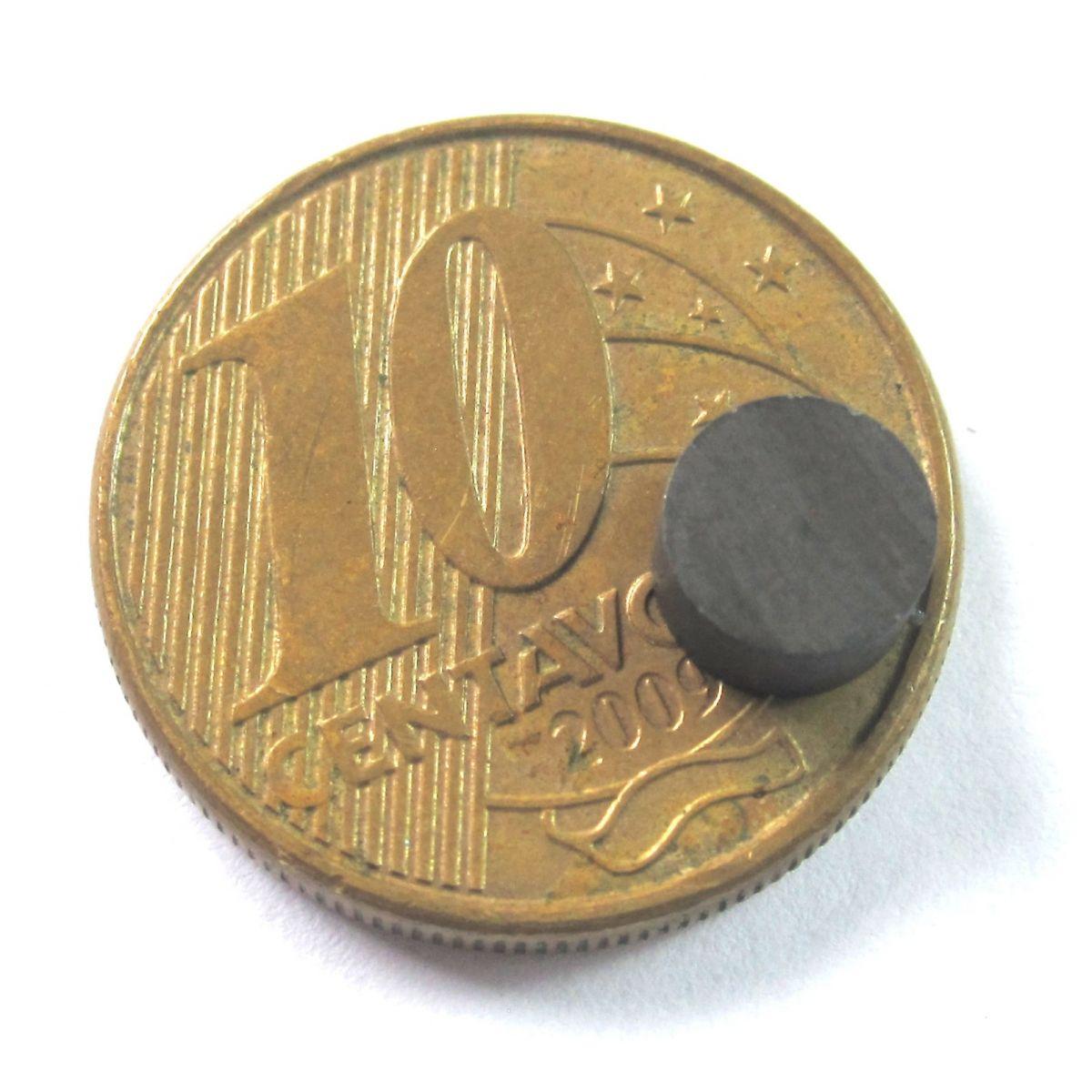 Imã de Ferrite Disco (cerâmica) Y30 6x3 mm