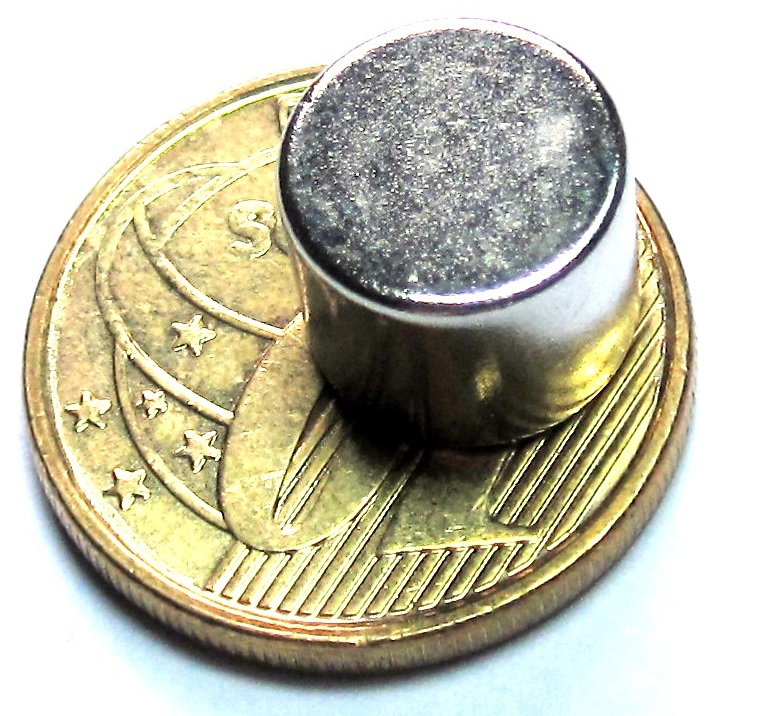Imã de Neodímio Disco N35 10x8 mm  - Polo Magnético