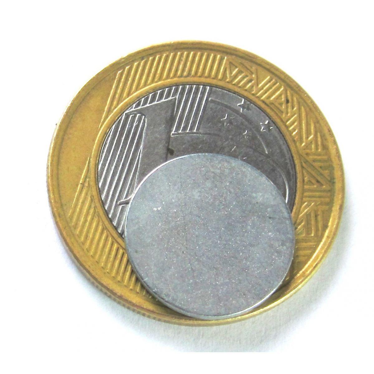 Imã de Neodímio Disco N35 zinco 15x1 mm  - Polo Magnético