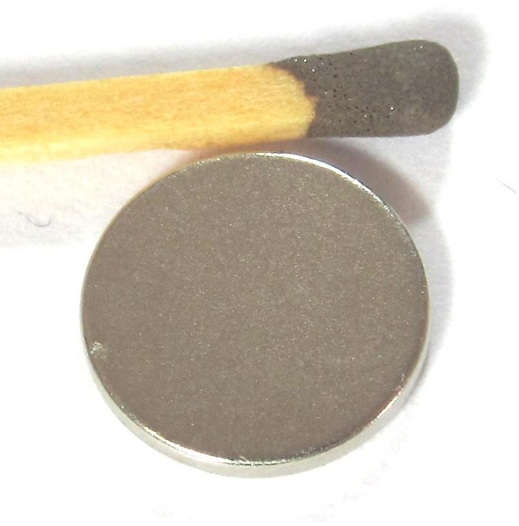 Imã de Neodímio Disco N35 13x1,5 mm  - Polo Magnético