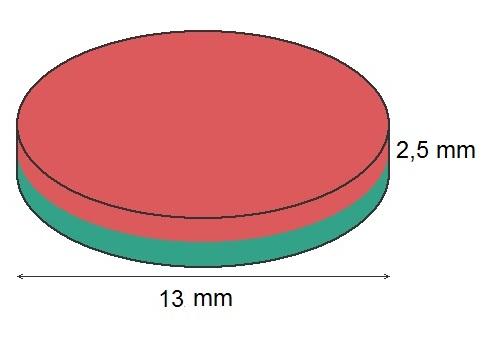 Imã de Neodímio Disco N35 13x2,5 mm  - Polo Magnético