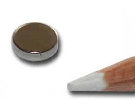 Imã de Neodímio Disco N35 7,5x2,5 mm  - Polo Magnético
