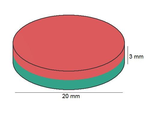 Imã de Neodímio Disco N35 20x3 mm  - Polo Magnético