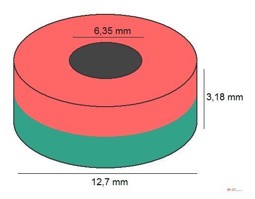 Imã de Neodímio Anel N35 12,7x6,35x3,18 mm  - Polo Magnético