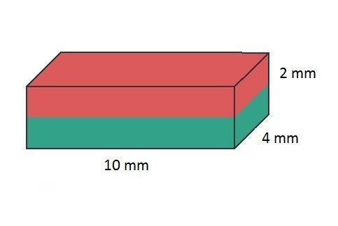 Imã de Neodímio Bloco N35 10x4x2 mm  - Polo Magnético