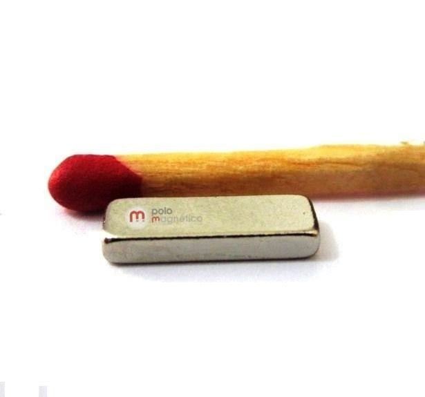 Imã de Neodímio Bloco N35 12x4x2 mm  - Polo Magnético