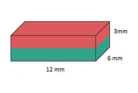 Imã de Neodímio Bloco N35 12x6x3 mm  - Polo Magnético