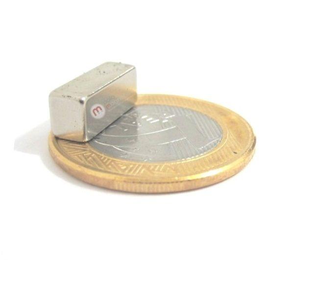 Imã de Neodímio Bloco N35 15x6x5 mm  - Polo Magnético