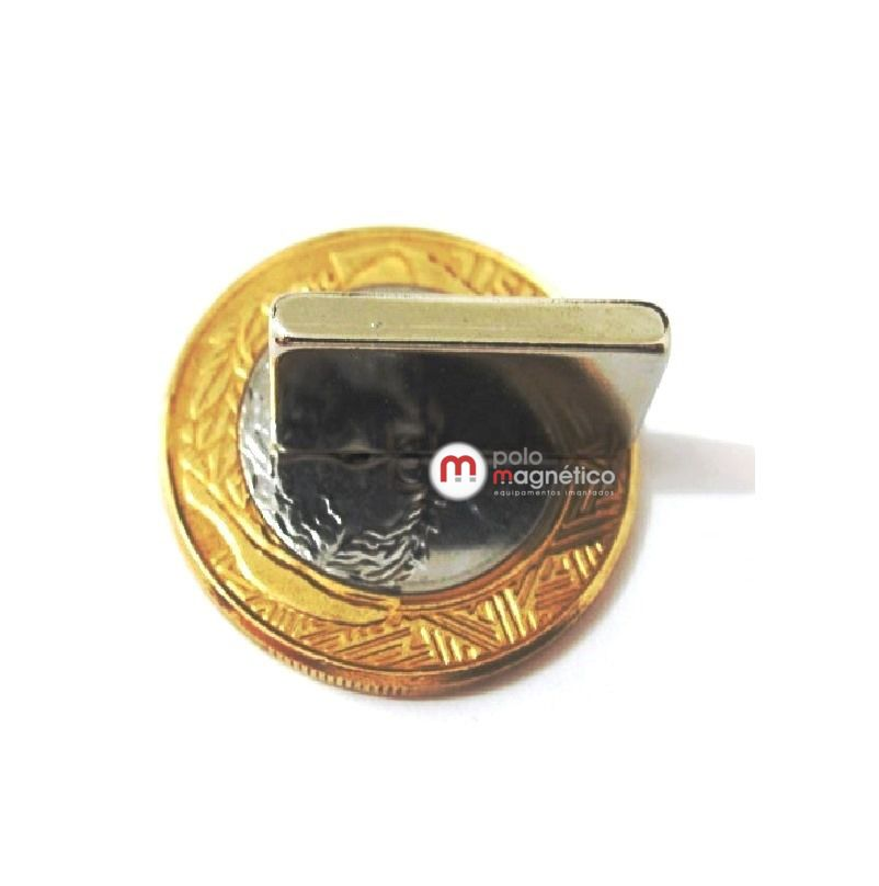 Imã de Neodímio Bloco N35 20x10x3 mm  - Polo Magnético