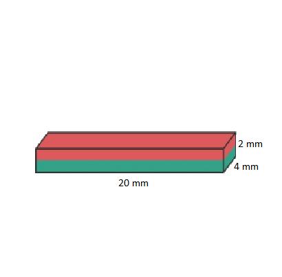 Imã de Neodímio Bloco N35 20x4x2 mm  - Polo Magnético