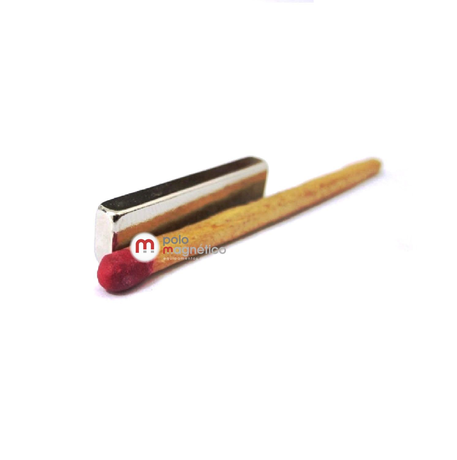 Imã de Neodímio Bloco N35 25x6x3 mm  - Polo Magnético