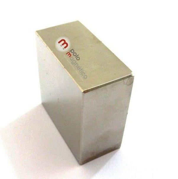 "Imã de Neodímio Bloco N35 2x2x1"" ou 50,8x50,8x25,4 mm  - Polo Magnético"