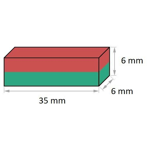 Imã de Neodímio Bloco N35 35x6x6 mm  - Polo Magnético