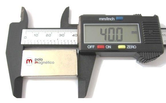 Imã de Neodímio Bloco N35 40x20x10 mm  - Polo Magnético