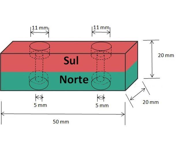 Imã de Neodímio Bloco N35 50x20x20 mm com furo  - Polo Magnético