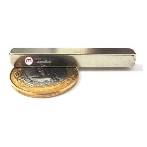 Imã de Neodímio Bloco N35 50x6x6 mm  - Polo Magnético