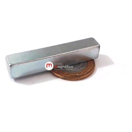 Imã de Neodímio Bloco N35 Zinco 50x9x9 mm  - Polo Magnético