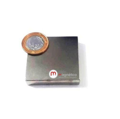 Imã de Neodímio Bloco N48 50x50x10 mm  - Polo Magnético
