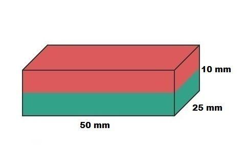 Imã de Neodímio Bloco N50 50x25x10 mm  - Polo Magnético