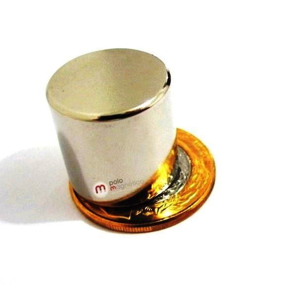 Imã de Neodímio Cilindro N35 20x20 mm