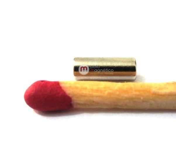 Imã de Neodímio Cilindro N35 3x8 mm  - Polo Magnético