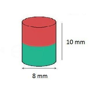 Imã de Neodímio Cilindro N35 8x10 mm  - Polo Magnético