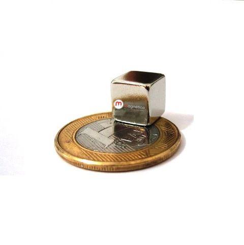 Imã de Neodímio Cubo N35 10x10x10 mm  - Polo Magnético