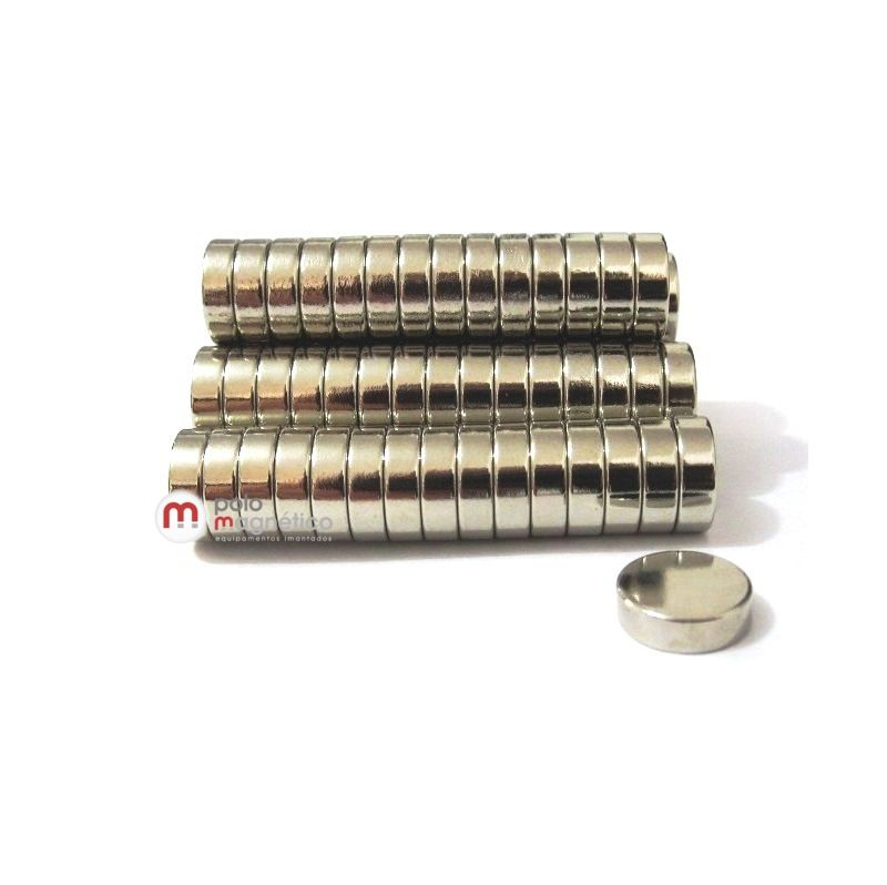 Ímã de Neodímio Disco N35 10x3 mm  - Polo Magnético