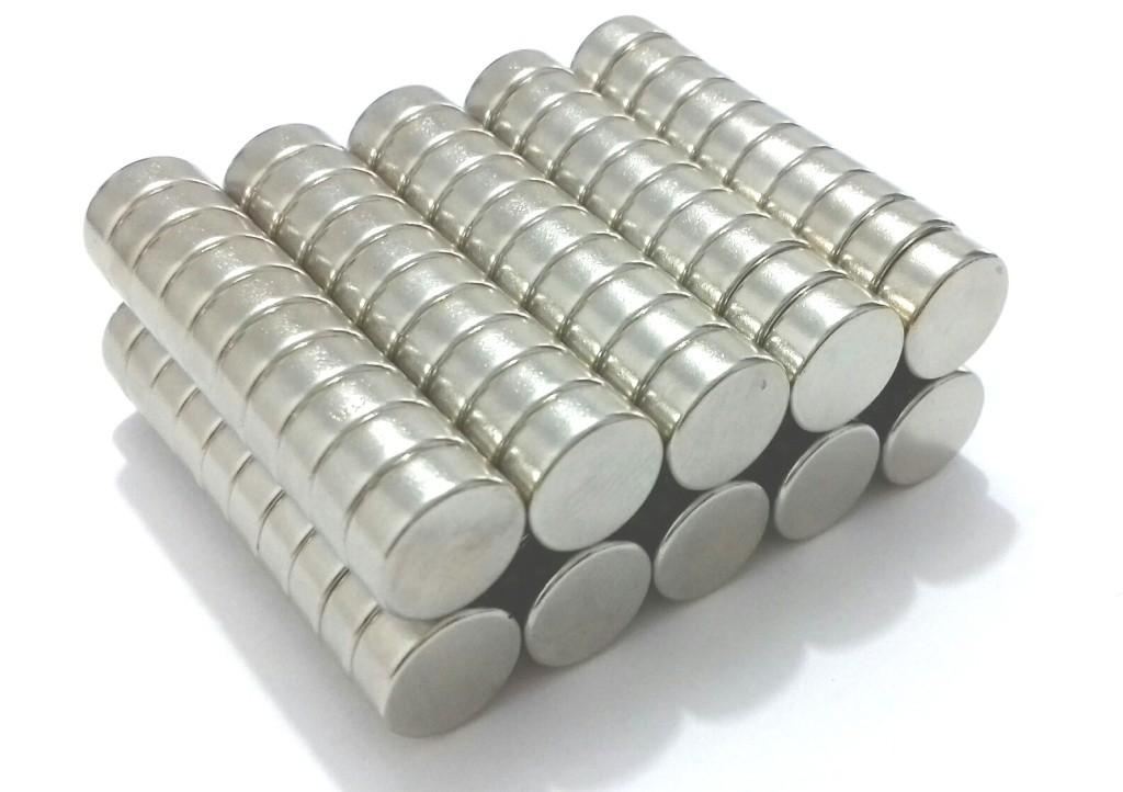 Imã de Neodímio Disco N35 10x4 mm 100 peças