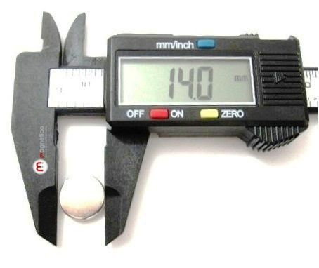 Imã de Neodímio Disco N35 14x1,5 mm  - Polo Magnético