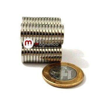 Imã de Neodímio Disco N35 14x2 mm  - Polo Magnético