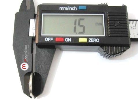 Imã de Neodímio Disco N35 15x1,5 mm  - Polo Magnético