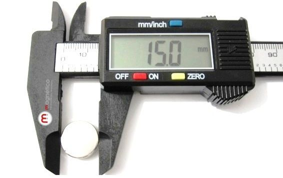 Imã de Neodímio Disco N35 15x2 mm  - Polo Magnético