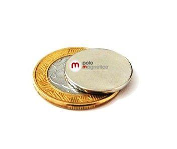 Imã de Neodímio Disco N35 20x1,5 mm  - Polo Magnético