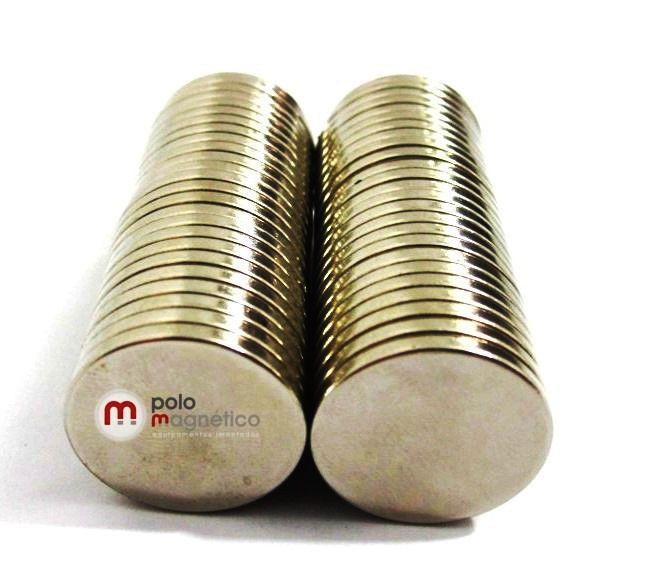 Imã de Neodímio Disco N35 20x2 mm 50 peças