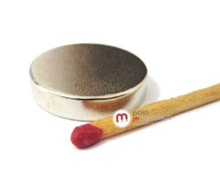 Imã de Neodímio Disco N35 25x5 mm  - Polo Magnético