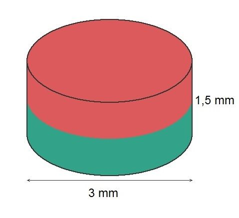 Imã de Neodímio Disco N35 3x1,5 mm 2500 peças  - Polo Magnético