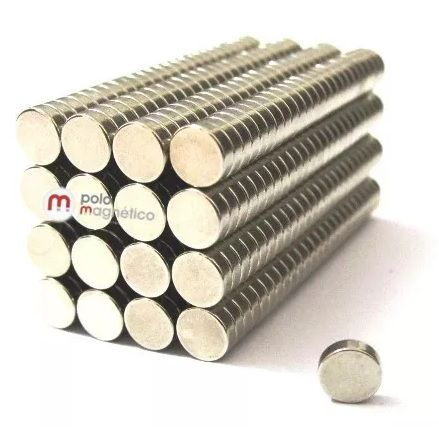 Imã de Neodímio Disco N35 5x1,5 mm atacado 1200 peças