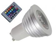 LAMPADA LED RGB C/ CONTROLE 3W - GU10