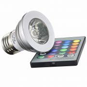 LAMPADA LED RGB C/ CONTROLE 3W - E27