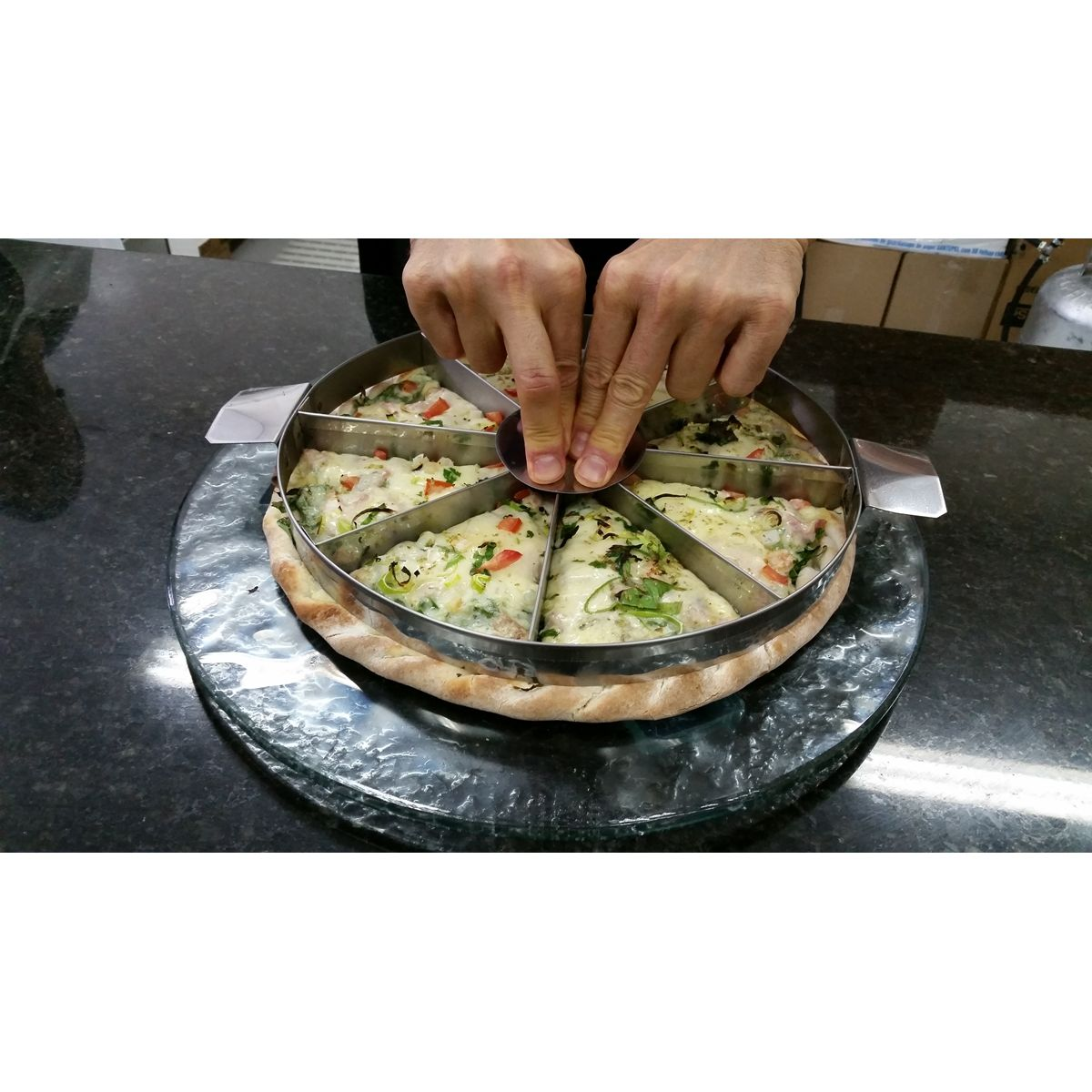 MARCADOR DE PEDAÇO DE PIZZA 38 CM P/ 05, 06, 08, 10, 12 PEDAÇOS.  - Fórum de Pizzas Vendas online