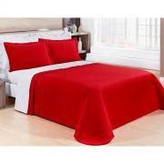 Cobre Leito Casal Queen Pratic 03 Peças Liso coleção 2107 -  100% Algodão 200 Fios - Cor Vermelha