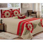 Cobre Leito Casal Queen Kit Charmy 06 Peças - Avelã e vermelho