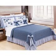 Colcha King Doce Lar 7 Peças  100%  algodão Tecido Percal 150 Fios - Azul