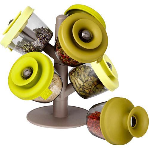 Jogo Porta Condimentos Vacu Vin com suporte Verde - ( 6 peças )