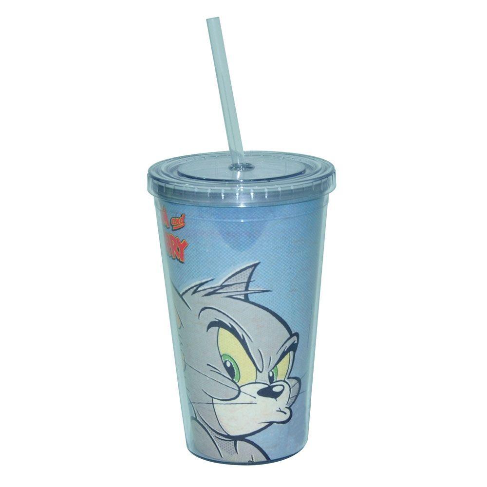 Copo Plástico Com Tampa E Canudo Hb Tom And Jerry Mad Face