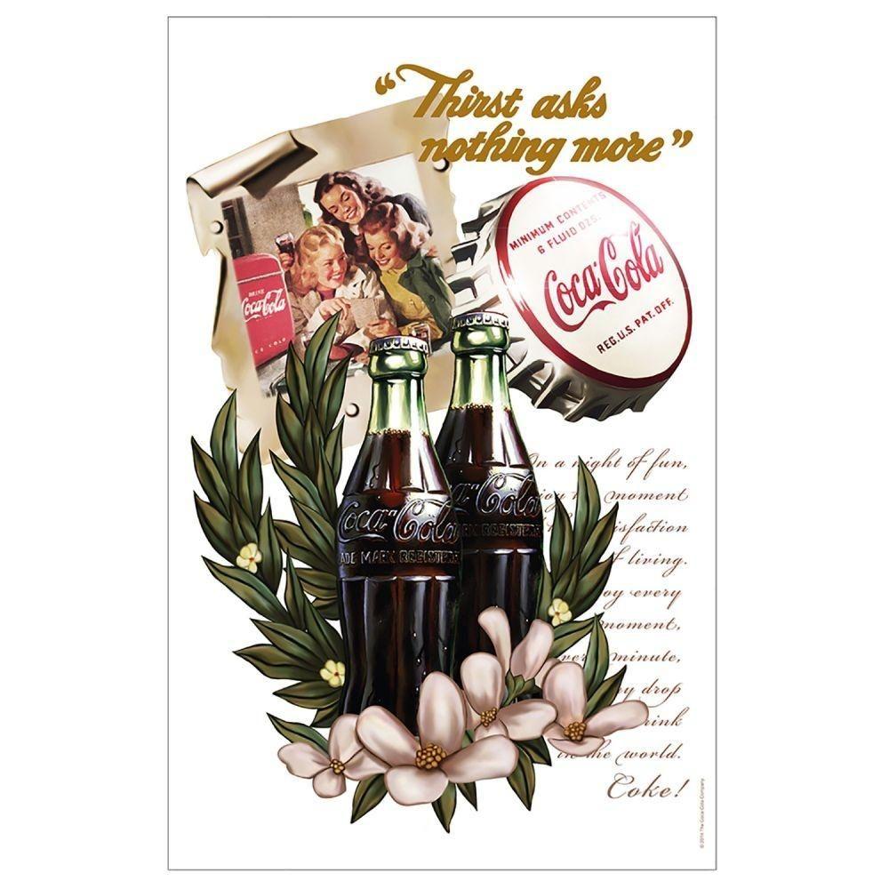 Pano de Prato - Coca Cola Vanilla Flowers - Branco
